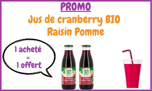 promo sur le jus de cranberry bio